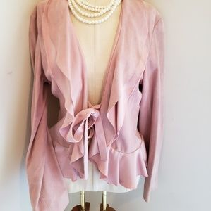 BEBE LOVELY RUFFLE FRONT PINK SUEDE JACKET